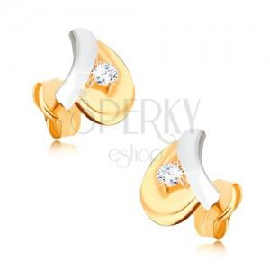 Zlaté ródiované náušnice 375 - biela stonka, žltý list, okrúhly zirkón