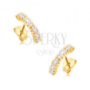 Náušnice v žltom 9K zlate - menšia zaoblená línia z čírych zirkónov ... 11e94225945