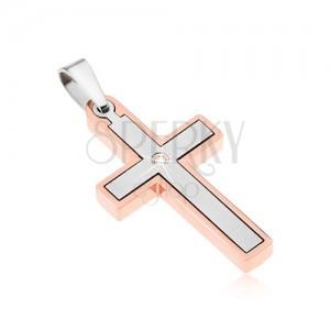 Prívesok z ocele, krížik medenej a striebornej farby, číry zirkón