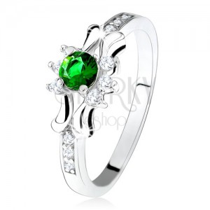Prsteň - striebro 925, zelený okrúhly zirkón, tri číre kamienky, ozdobené ramená
