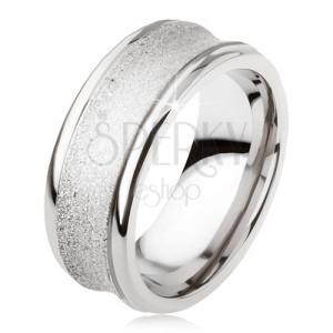 Titánový prsteň - strieborná farba, trblietavý, prehĺbený stredný pás