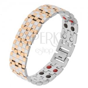Lesklý náramok z ocele, zlatá a strieborná farba, vzor šachovnice, magnety