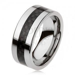 Tungstenová obrúčka striebornej farby s čiernym stredovým pásom, mriežka