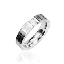 Oceľový prsteň - číry zirkón, vzorovaný