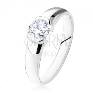 Strieborný zásnubný prsteň 925, okrúhly číry kamienok, lesklý povrch