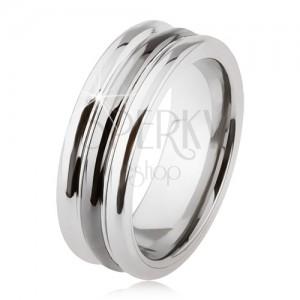 Wolfrámový prsteň s lesklým povrchom, dva zárezy, čierna a strieborná farba