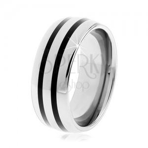 Tungstenový hladký prsteň, jemne vypuklý, lesklý povrch, dva čierne pruhy