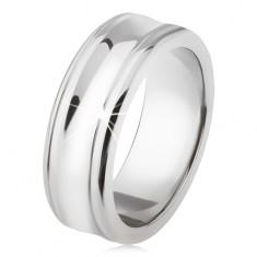 Titánový prsteň - strieborná farba, lesklý, prehĺbený stredný pás