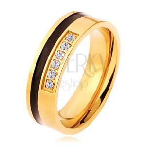 Oceľový prsteň zlatej a čiernej farby, ozdobná línia čírych zirkónov