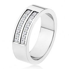 Oceľový prsteň - strieborná farba, lesklý, dvojitá línia čírych zirkónov