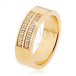 Oceľový prsteň zlatej farby, dvojitá línia čírych zirkónov