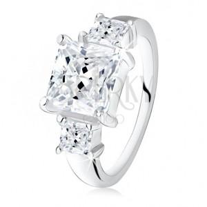 Zásnubný prsteň, veľký štvorcový zirkón, dva menšie po bokoch, striebro 925