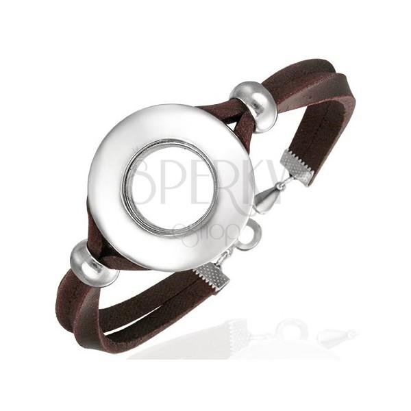 Kožený náramok s okrúhlou ozdobou