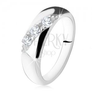 Zásnubný prsteň, diagonálna línia okrúhlych čírych zirkónov, striebro 925
