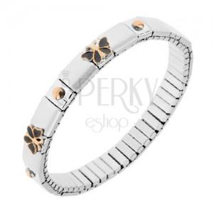 Strečový náramok z ocele, strieborná farba, guličky, motýle