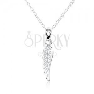 Strieborný 925 náhrdelník - jemne gravírované ploché anjelské krídlo