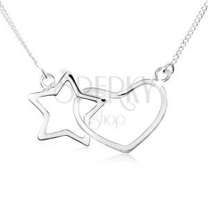 Náhrdelník zo striebra 925, kontúra hviezdy a symetrického srdca
