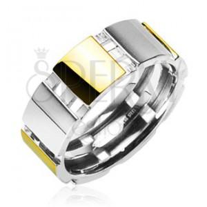 Oceľový prsteň s časťami zlatej farby