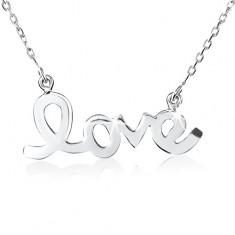 """Šperky eshop - Strieborný náhrdelník 925, lesklý, hladký, plochý nápis """"love"""" SP19.04"""