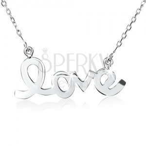 """Strieborný náhrdelník 925, lesklý, hladký, plochý nápis """"love"""""""