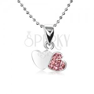 Strieborný náhrdelník 925, retiazka z malých guličiek, dve srdcia, ružové zirkóny
