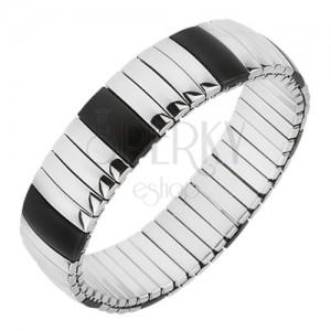 Strečový oceľový náramok, pozdĺžne pásy čiernej a striebornej farby