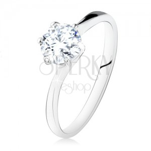 Strieborný zásnubný prsteň 925, okrúhly číry zirkón, úzke ramená