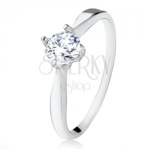 Zásnubný strieborný prsteň 925, brúsený číry zirkón, úzke ramená