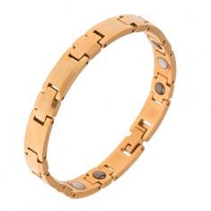 """Volfrámový náramok, zlatá farba, články """"+"""", obdĺžniky, magnety"""
