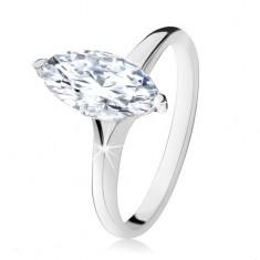 Šperky eshop - Strieborný prsteň 925, masívny zirkónový ovál v dekoratívnej objímke SP14.02 - Veľkosť: 48 mm