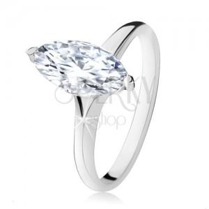 Strieborný prsteň 925, masívny zirkónový ovál v dekoratívnej objímke