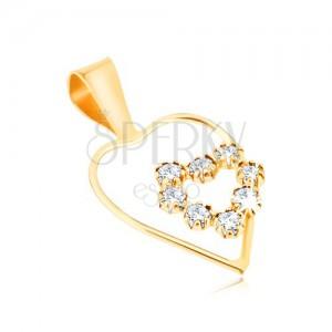 Zlatý prívesok 375 - tenká línia kontúry pravidelného srdca, zirkónové srdce