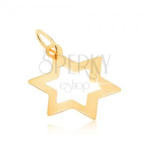 Prívesok v žltom 9K zlate - lesklý obrys šesťcípej plochej hviezdy