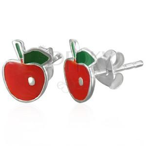Náušnice zo striebra 925 - jabĺčko s lístkom striebornej farby