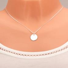 Strieborný náhrdelník 925, zrkadlovolesklá okrúhla známka bez vzoru