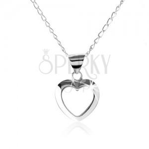 Strieborný náhrdelník 925, kontúra symetrického srdiečka