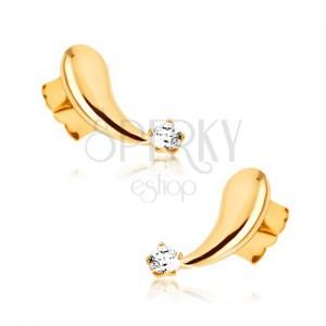 Náušnice zo žltého 9K zlata - vypuklé zrkadlovolesklé slzičky, zirkón