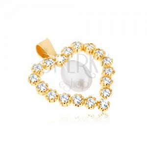 Prívesok zo žltého 9K zlata, zirkónová kontúra srdca, slzičková perla v strede