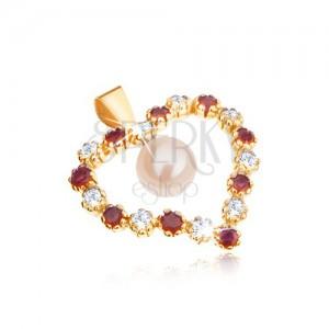 Zlatý prívesok 375, kontúra srdca zo zirkónov a červených rubínov, biela perla