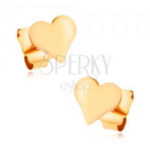 Náušnice v žltom 9K zlate - malé hladké pravidelné srdiečko, vysoký lesk