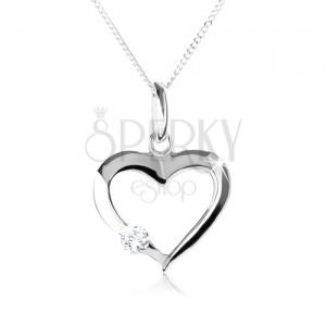 Strieborný náhrdelník 925, obrys symetrického srdca s čírym zirkónom
