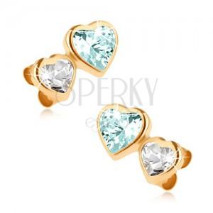 Zlaté náušnice 375, malé zirkónové srdce a väčšie srdce z modrého topásu