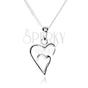 Strieborný náhrdelník 925, dvojitý obrys asymetrického srdca