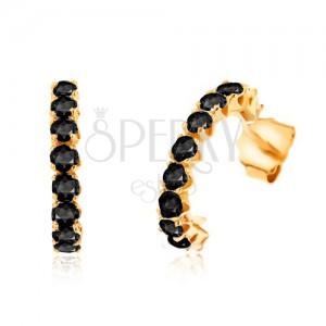 Náušnice zo žltého 9K zlata - polkruhy vykladané okrúhlymi čiernymi zafírmi