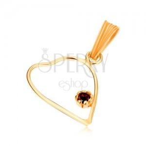 Prívesok zo žltého 9K zlata, tenký obrys symetrického srdca, červený granát