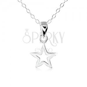 Strieborný náhrdelník 925, obrys plochej päťcípej hviezdičky