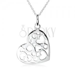 Strieborný náhrdelník 925, prívesok srdca s výrezmi sŕdc a kruhov