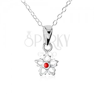 Strieborný náhrdelník 925, obrys kvetu s červenou guličkou uprostred