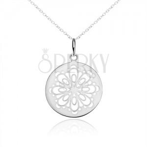Strieborný náhrdelník 925, okrúhly prívesok, vyrezaný zdobený kvet