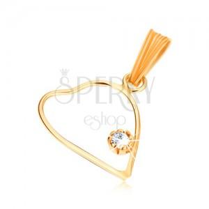 Prívesok zo žltého 9K zlata, tenký obrys symetrického srdca, číry zirkón